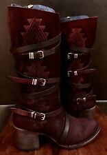 EXCELLENT HARDLY DISTRESSED FREEBIRD BY STEVEN COLIN BURGUNDY SUEDE AZTEC BOOT 8