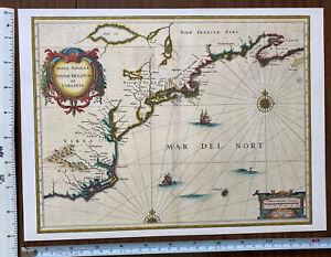 Antique Vintage MAP 1600's: New England, Netherlands, Virginia, America Reprint