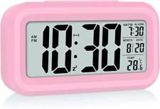 Led Display Digital Alarm Clock Battery Operated Smart Night Light Easy Pink