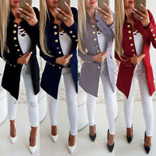 Women Cool Solid Long Sleeve Button Casual Long Blazer Suit Jacket Coat Outwear