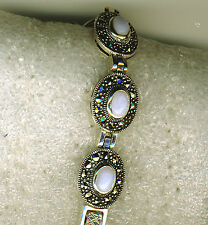 "925 Sterling Silver Marcasite & Blue Lace Agate Bracelet 7.1/2""  over 27 grams"