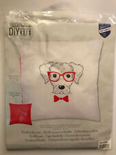 Vervaco DIY Embroidery Kits DOG WITH RED GLASSES Pillow Kit - NIB