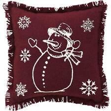 """Stenciled SNOWMAN & SNOWFLAKES 10"""" x 10"""" Cotton Burlap Christmas PilloW"""