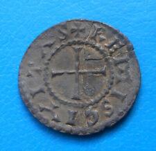 Carolingiens Charles II le chauve , denier (recollé) frappé à Reims