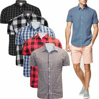 Mens Ex-Store Brand Short Sleeve Shirt Striped Checked Cotton Summer Office Work