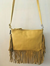 Niquead Fringed Leather Shoulder Cross-Body Bag Mustard Yellow New