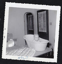 Vintage Antique Photograph Cute Little Baby Sitting in Tub on Table
