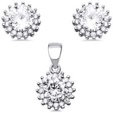 Halo Cubic Zirconia .925 Sterling Silver Earring and Pendant Set