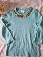 Kate Spade New York Live Colorfully Pale Blue Jewelled Collar Sweater Size M