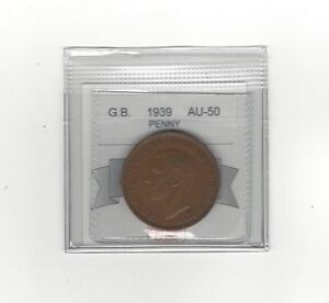 1939 Great Britain, One Penny, Coin Mart Graded **AU-50**