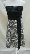 "Jane Norman stunning black/white strapless lined dress W 28"" Bust 32"" Size 12"
