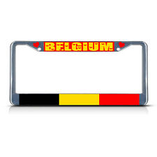 BELGIUM COUNTRY FLAG Metal License Plate Frame Tag Border Two Holes