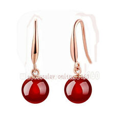 Fashion 10mm Genuine Natural Red jade Stone 18K Rose Gold Dangle Earrings AAA+