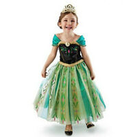 Kids Anna Princess Costume Girls Cosplay Party Wedding Halloween Costume Dress