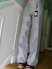 Emporio Armani silver grey wide-leg silk cotton trousers IT size 38 UK size 6-8