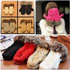 Lovely Women Ladies Girls Mitten Knitted Wool Fur Halter Wrist Winter Warm Glove
