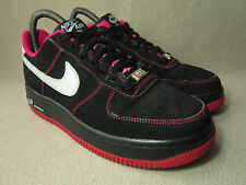 NIKE AIR FORCE 1 GS LOW Junior Black/White/Pink Leather Trainers UK 5/ EU 38