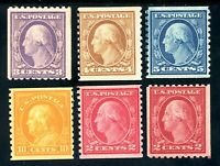 USAstamps Unused FVF US Serie 1916 Coil Sct 488, 489, 492, 493, 496, 497 OG Mint