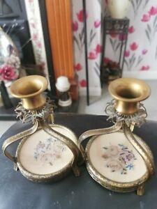 Pair Vintage Petit Point Ormolu Candlesticks