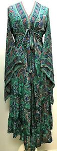 Boho hippie 100% SILK Beach Kimono Cover Up Wrap Long Turquoise dress One size