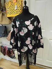 Limited Collection Tunic NWT Black/Green/Pink/Grey/White Floral Print Size 26/28