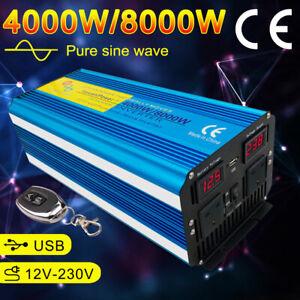 Pure Sine Wave power inverter 4000W Peak 8000W DC 12V TO AC 230V Remote Control