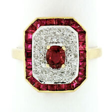 Vintage 18k Gold 2.02ctw Ruby & Round Diamond Platter Ring w/ Calibre Cut Border