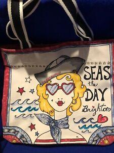 """BRIGHTON """"Seas The Day"""" Beach Towel Pool Nautical Bag Canvas Anchor Tote Summer"""