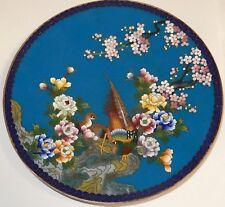 "Inaba Cloisonne Blue Enamel Floral Blossom Bird 7""1/4 Plate Signed"