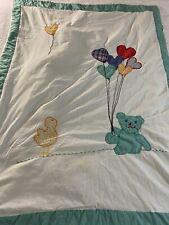 "VINTAGE  Handmade Heart Balloons Teddy Bear, & Duck Applique Quilt 56"" x 41"""