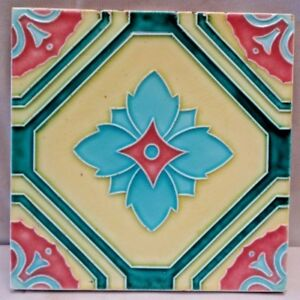 VINTAGE TILE JAPAN DK MAJOLICA ART NOUVEAU CERAMIC PORCELAIN COLLECTIBLES #249