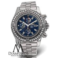 Diamond Breitling Super Avenger A13370 Blue Dial Diamond Bezel Authentic Watch