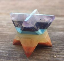 NATURAL 7 CHAKRA BONDED GEMSTONE MERKABA STAR (ONE) - BUY IT NOW