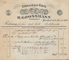 DRESDEN-A., Rechnung 1894, Nähmaschinen-Fabrik H. Grossmann