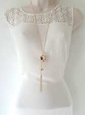 "Stunning 30"" long ROSE gold tone chain & charm - tassel pendant necklace  AJ00"