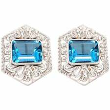 14 Karat White Gold French Back Huggie Earrings with Blue Topaz