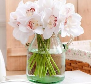 Diy Hand Flowers Artificial Orchid Real Touch Short Shoot Home Table Decor 7 Pcs