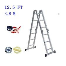 Aluminum Ladder Folding 12.5Ft Step Scaffold Extendable Heavy Duty Platform