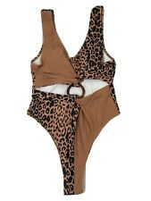 Shein Leapord Print Swimsuit Brown & Black One Piece w/ Ring Size Medium New