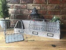 New Vintage Industrial Rustic Wall Shelf Shelving Unit Wire Storage Baskets 52cm