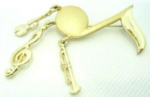 VINTAGE 1960s LRAZZA BROOCH LAPEL PIN MUSIC NOTE DANGLE CHARMS GOLD TONE METAL