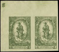 LIECHTENSTEIN - 1920 - Mi.40 Imperf. Corner Pair with Plate Number (3) - Mint**