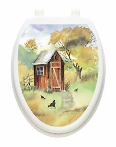 Toilet Tattoos Watercolor Outhouse  Lid Cover  Decor  Reusable Vinyl