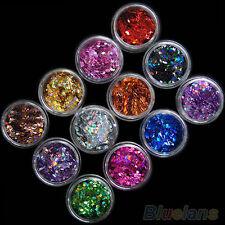 LC_ MODA 12 COLORI NAIL ART TIPS ADESIVI acrilico 3d glitter lustrini MANICU