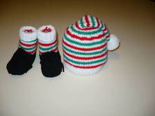 BOOTIES AND HAT 0/5 MONTH OLD. XMAS HAT AND BOOTIES. HAND-KNITTED
