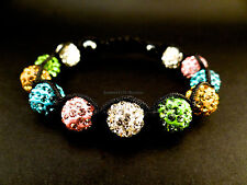 10mm Shamballa bracelet white green yellow blue pink rhinestones with hematite