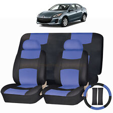 PU LEATHER BLUE & BLACK SEAT COVERS 11PC SET for MAZDA 3 5 CX7