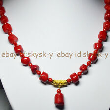 24inches Real Natural Coral 10-12mm Red Coral Gems Beads Pendant Necklaces