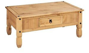 Corona Coffee Table 1 Drawer Solid Wood Occasional Table, Mexican Pine