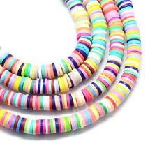 10 Strds Colorful Handmade Polymer Clay Beads Flat Disc Loose Spacers Craft 6mm